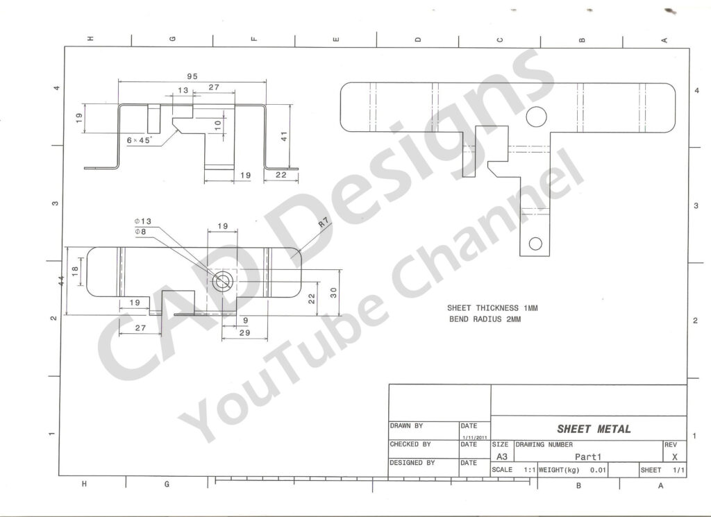 CAD Designs Sheetmetal Practice Drawings
