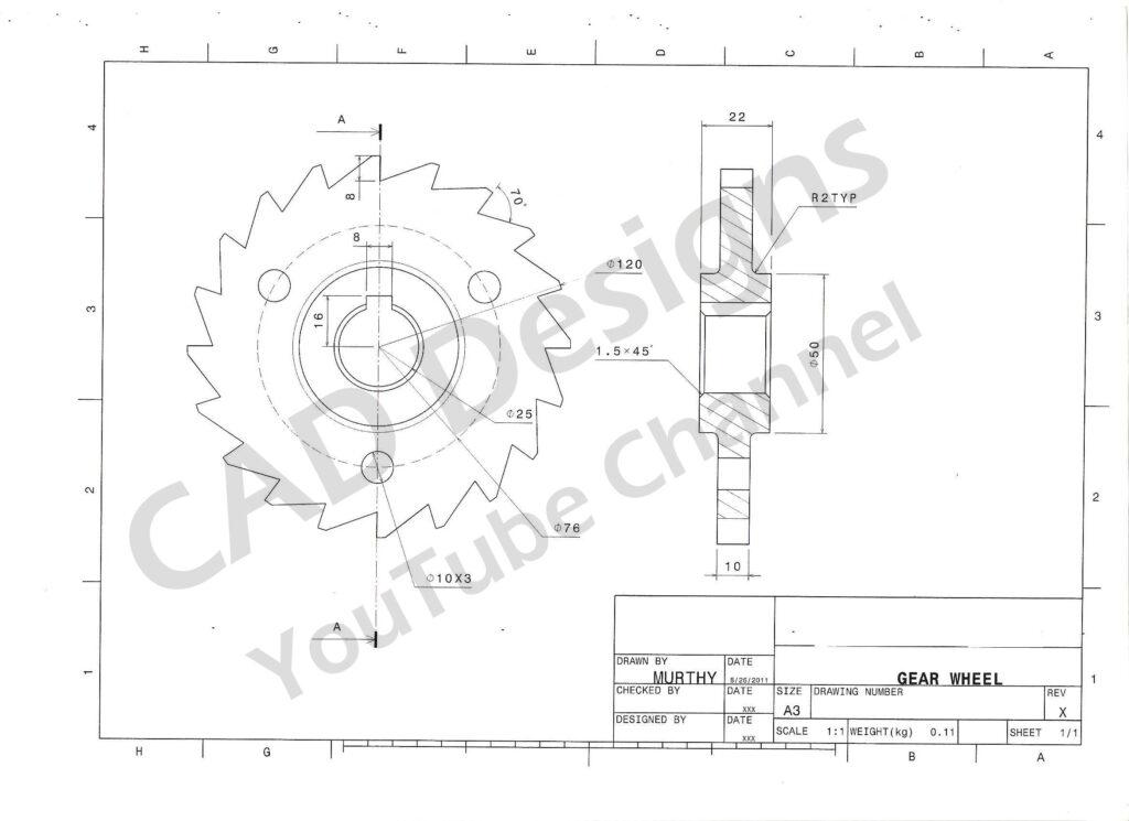CAD Designs Gear Wheel Practice Design