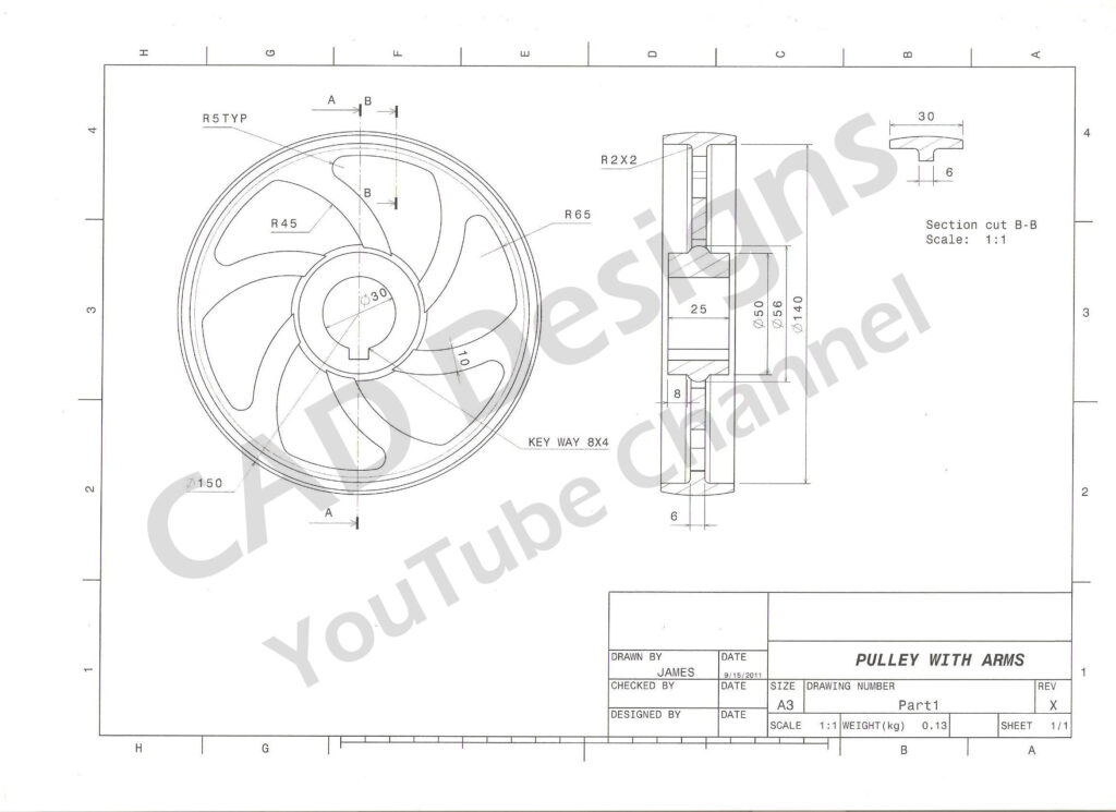 CAD Designs Pully Practice Drawing Sheet