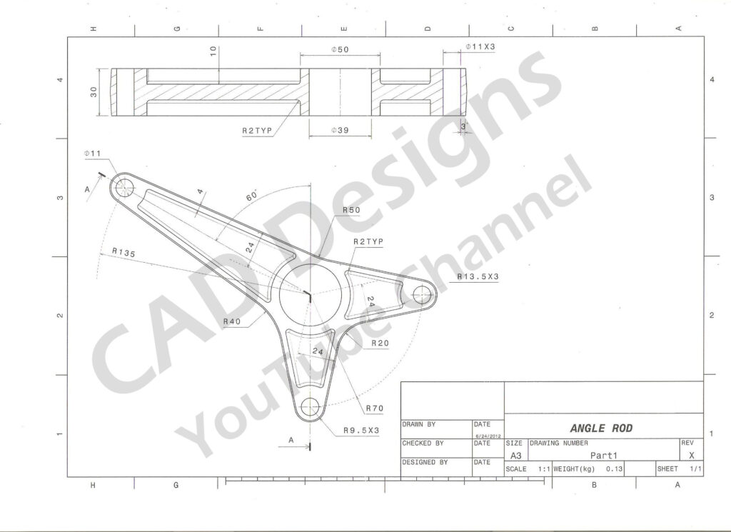 CAD Designs Angle Rod Practice Drawing Sheet