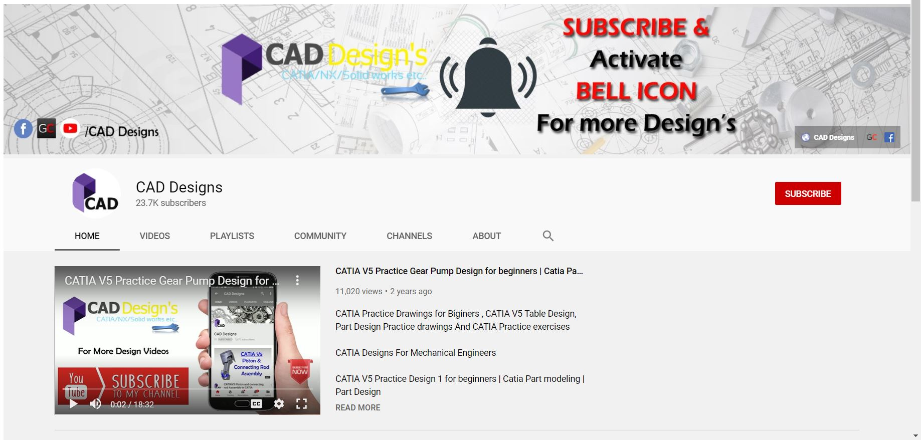 CAD Designs YouTube Channel