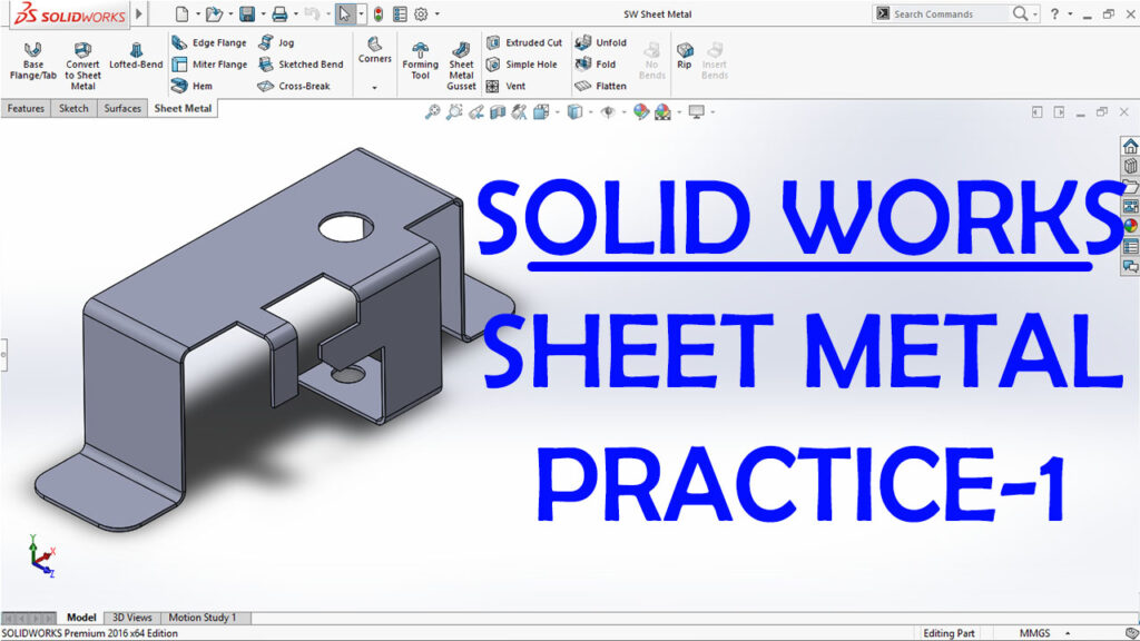 Sheetmetal Practice Drawing in SOLIDWORKS