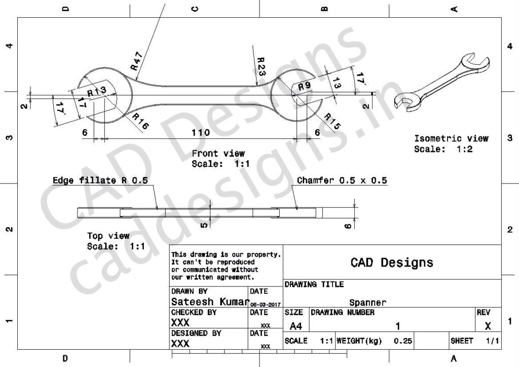 CAD-Designs-Spanner-Drawing-sheet