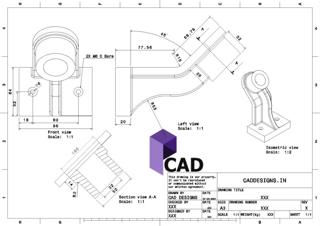 (CADDESIGNS.IN) CAD DESIGNS Practice Drawing 12