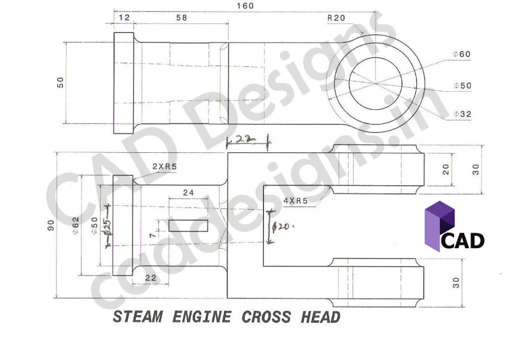 (CADDESIGNS.IN) CAD DESIGNS Steam Engine Cross Head Practice Drawing sheet