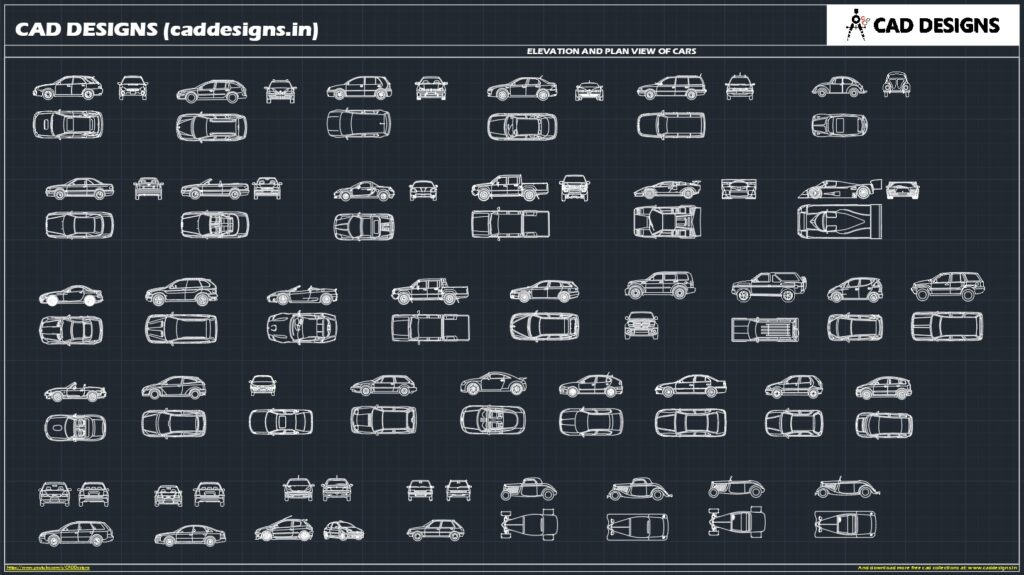 ELEVATION AND PLAN VIEWS OF CARS AutoCAD Blocks (caddesigns.in)