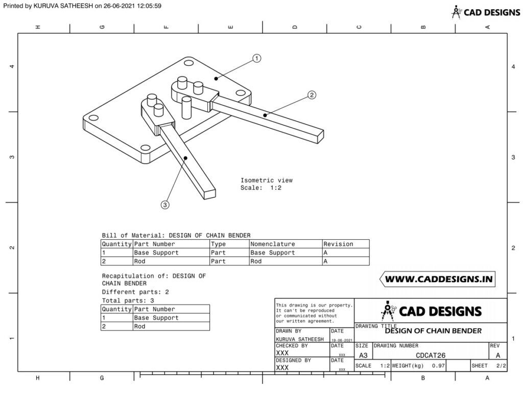 DESIGN OF CHAIN BENDER Practice Drawing Sheet Page 2 (www.caddesigns.in)