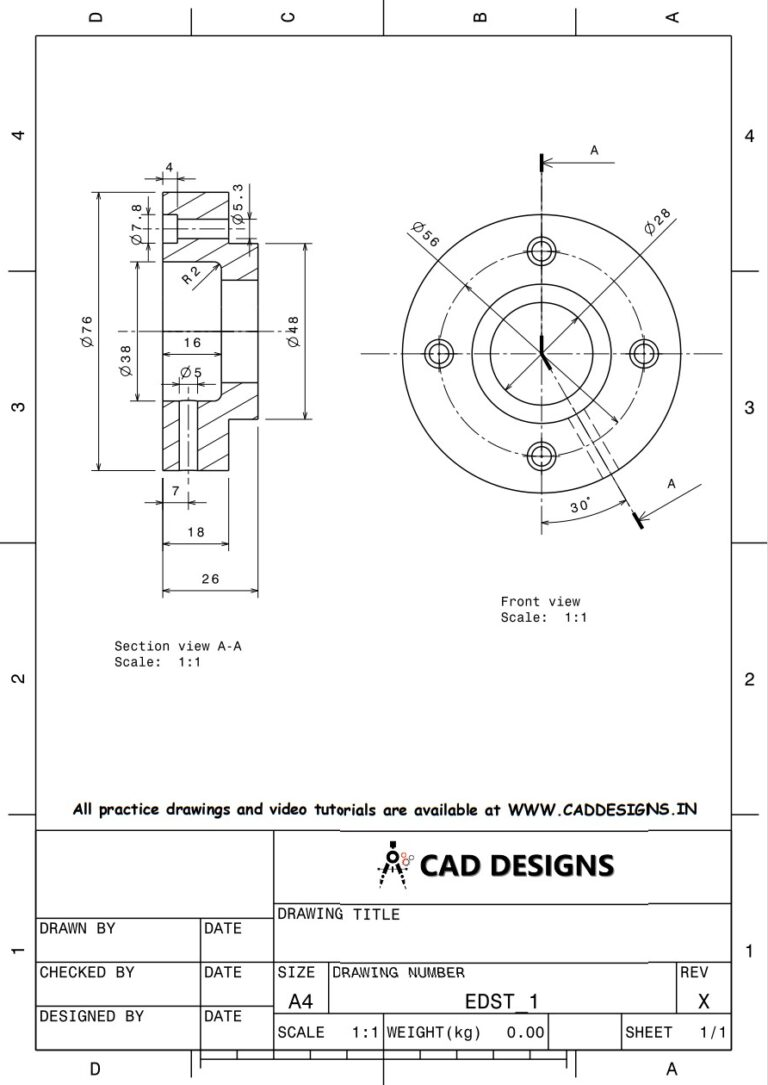Mechanical Practice Drawing Sheets for AutoCAD, CATIA, NX, SOLIDWORKS, and ProE (www.caddesigns.in)_01