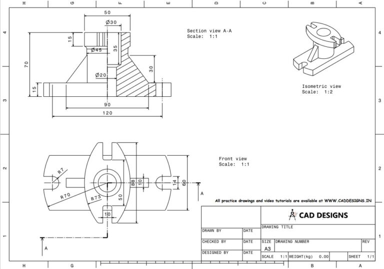 Mechanical Practice Drawing Sheets for AutoCAD, CATIA, NX, SOLIDWORKS, and ProE (www.caddesigns.in)_02