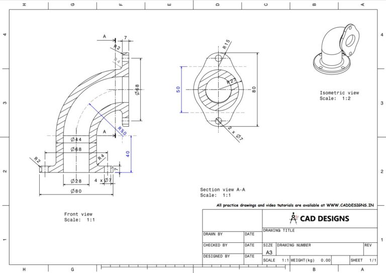 Mechanical Practice Drawing Sheets for AutoCAD, CATIA, NX, SOLIDWORKS, and ProE (www.caddesigns.in)_03