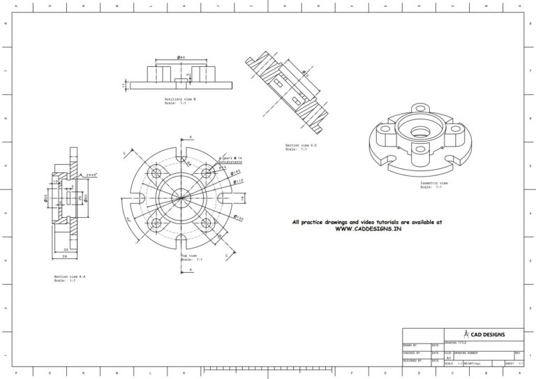 Mechanical Practice Drawing Sheets for AutoCAD, CATIA, NX, SOLIDWORKS, and ProE (www.caddesigns.in)_08