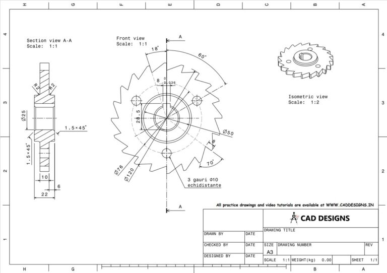 Mechanical Practice Drawing Sheets for AutoCAD, CATIA, NX, SOLIDWORKS, and ProE (www.caddesigns.in)_09