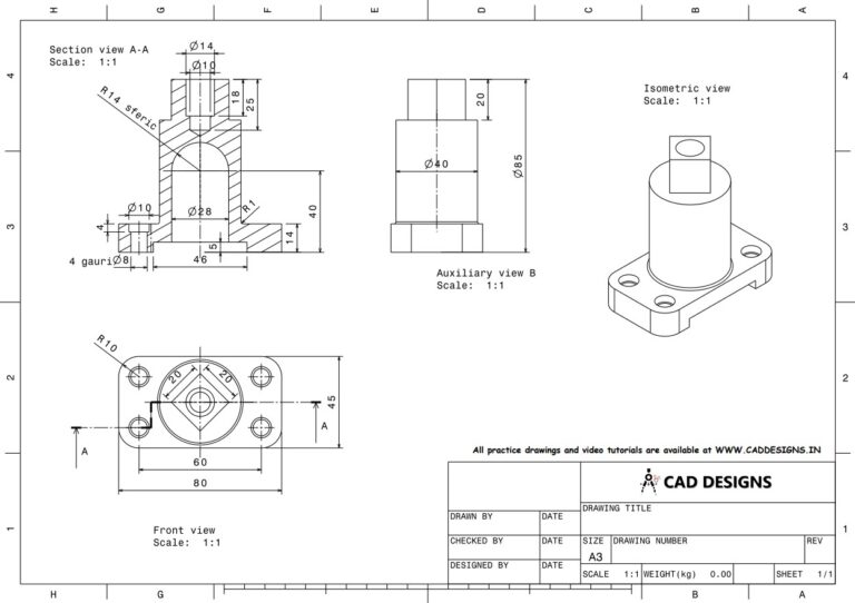 Mechanical Practice Drawing Sheets for AutoCAD, CATIA, NX, SOLIDWORKS, and ProE (www.caddesigns.in)_10