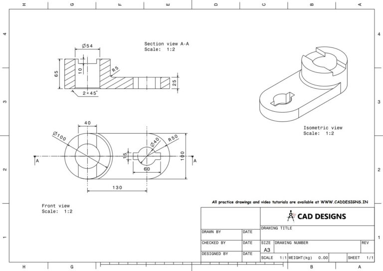 Mechanical Practice Drawing Sheets for AutoCAD, CATIA, NX, SOLIDWORKS, and ProE (www.caddesigns.in)_11