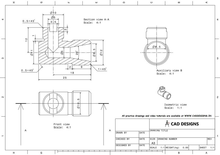 Mechanical Practice Drawing Sheets for AutoCAD, CATIA, NX, SOLIDWORKS, and ProE (www.caddesigns.in)_12