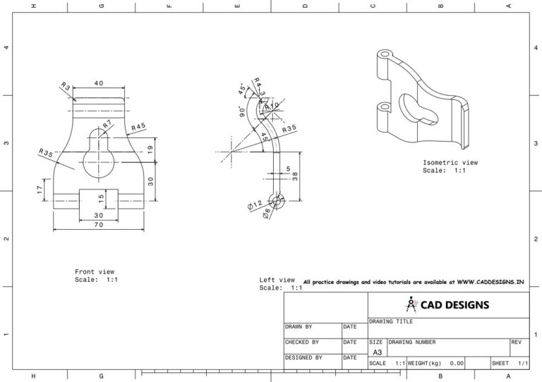 Mechanical Practice Drawing Sheets for AutoCAD, CATIA, NX, SOLIDWORKS, and ProE (www.caddesigns.in)_13