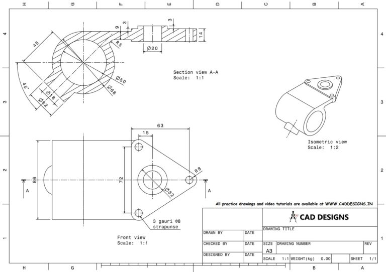 Mechanical Practice Drawing Sheets for AutoCAD, CATIA, NX, SOLIDWORKS, and ProE (www.caddesigns.in)_14