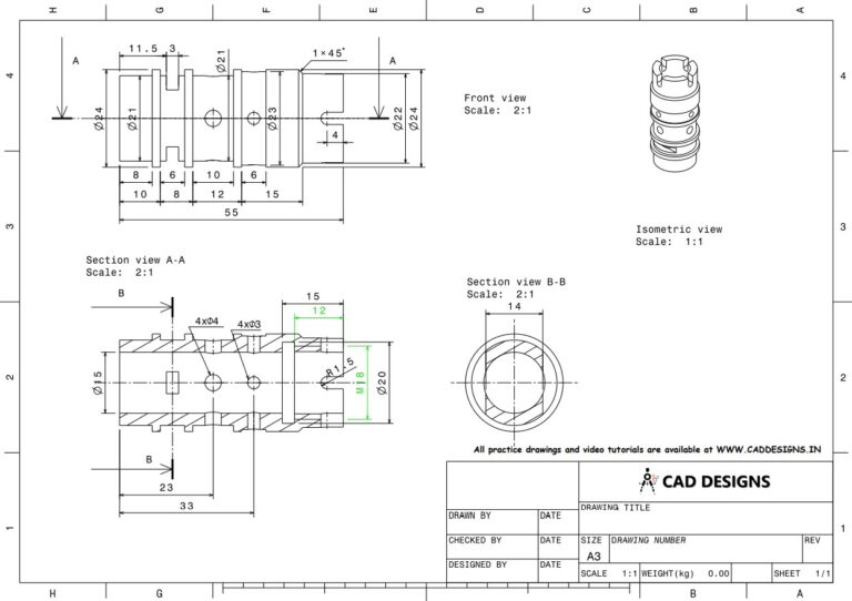 Mechanical Practice Drawing Sheets for AutoCAD, CATIA, NX, SOLIDWORKS, and ProE (www.caddesigns.in)_15