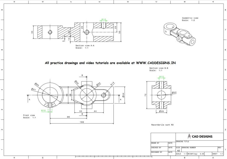 Mechanical Practice Drawing Sheets for AutoCAD, CATIA, NX, SOLIDWORKS, and ProE (www.caddesigns.in)_16