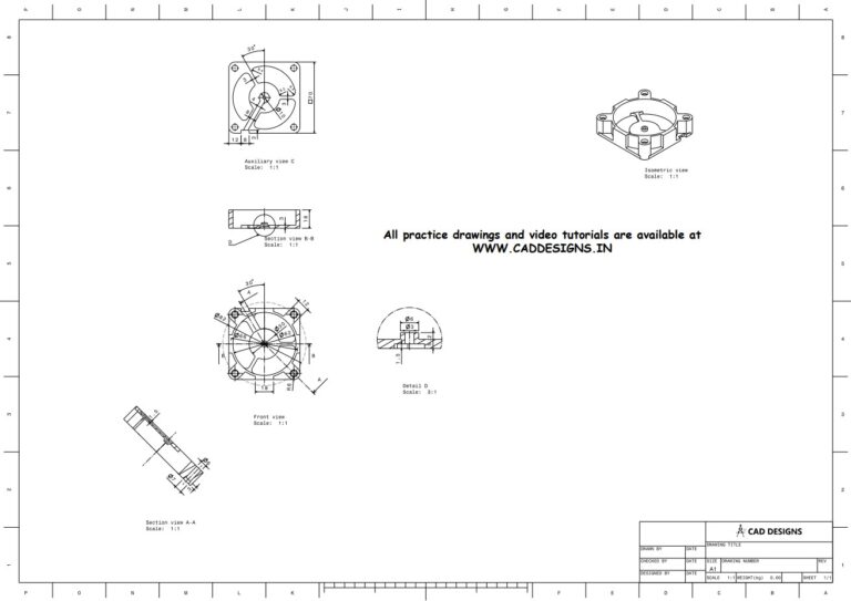 Mechanical Practice Drawing Sheets for AutoCAD, CATIA, NX, SOLIDWORKS, and ProE (www.caddesigns.in)_17