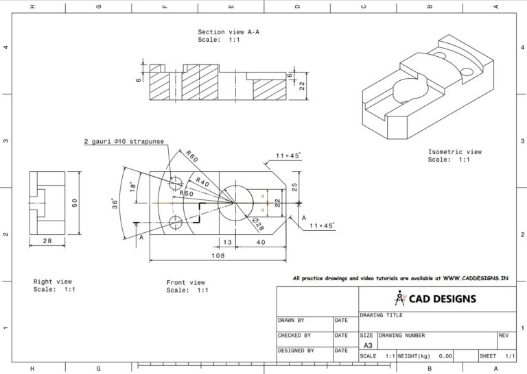 Mechanical Practice Drawing Sheets for AutoCAD, CATIA, NX, SOLIDWORKS, and ProE (www.caddesigns.in)_19