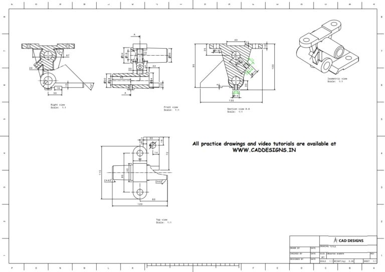 Mechanical Practice Drawing Sheets for AutoCAD, CATIA, NX, SOLIDWORKS, and ProE (www.caddesigns.in)_21