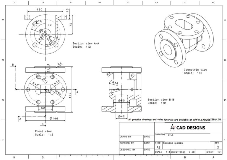 Mechanical Practice Drawing Sheets for AutoCAD, CATIA, NX, SOLIDWORKS, and ProE (www.caddesigns.in)_23