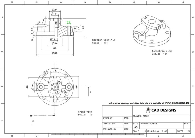 Mechanical Practice Drawing Sheets for AutoCAD, CATIA, NX, SOLIDWORKS, and ProE (www.caddesigns.in)_24