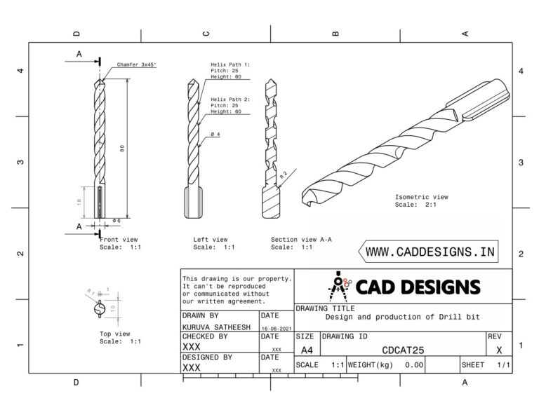 Mechanical Practice Drawing Sheets for AutoCAD, CATIA, NX, SOLIDWORKS, and ProE (www.caddesigns.in)_25