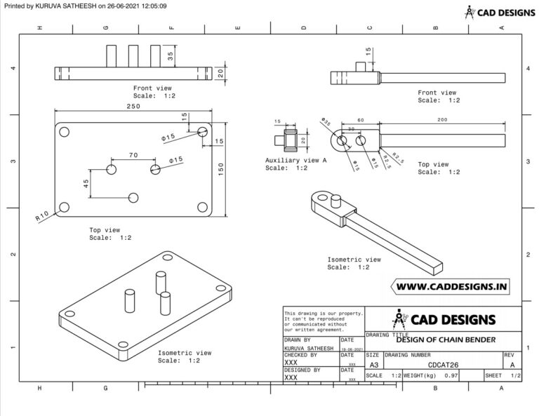Mechanical Practice Drawing Sheets for AutoCAD, CATIA, NX, SOLIDWORKS, and ProE (www.caddesigns.in)_26.1