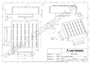Sheet Metal Practice Drawing 2 (www.caddesigns.in)